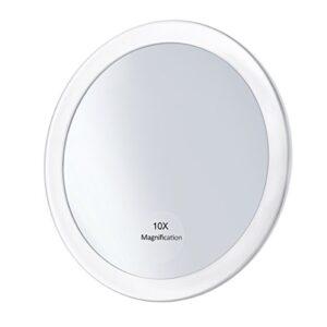 Frcolor Espejo de aumento 10X con 3 Ventosas, Espejo de bolsillo plega...