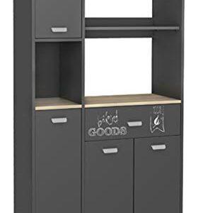 Armario aparador bufe alto de cocina de 4 puertas y 1 cajón gris grafi...