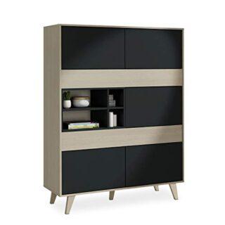 Habitdesign 0Z6636R - Mueble aparador Vitrina, Acabado Color Roble y G...
