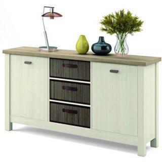 Mueble aparador Artik en colores cambrian y pino con 3 cestas de bambú...