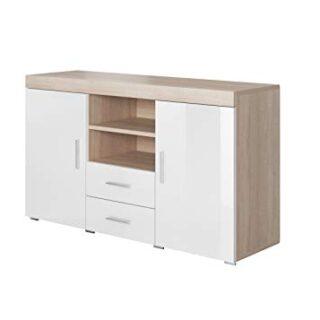 muebles bonitos Aparador Moderno Modelo Roque Sonoma Blanco de melamin...