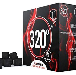 320° - 4kg Carbón de coco (26mm Cubo) natural para cachimba shisha, na...