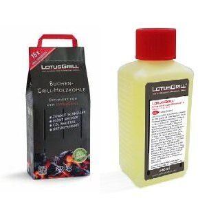 LotusGrill Carbón Madera de haya 2,5 kg saco incl. LotusGrill Pasta De...