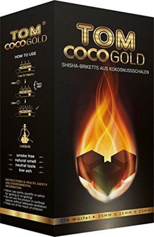Tom CocoGold - Shisha de carbón, 3 kg, Aprox. 25 x 25 mm, Color Negro,...