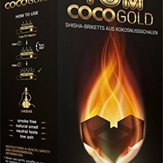 Tom CocoGold - Shisha de carbón, 3 kg, Aprox. 25 x 25 mm, Color Negro,...