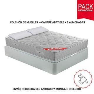 PIKOLIN Pack Colchón viscoelástico de muelles 150x190+ canapé Base aba...