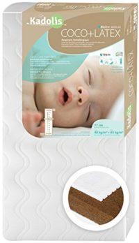 Kadolis Colchón de bebé de Coco látex 60 x 120 cm