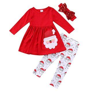 Akaddy Kid Girl Christmas Clothes Set Santa Claus Tops + Pantalones + ...