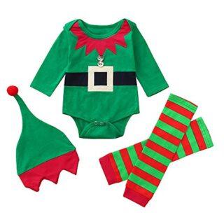 Bebe Navidad Disfraz Duende Ropa Conjunto Recién Nacido Niña Niño Bodi...
