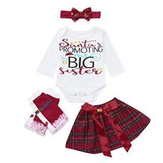 K-youth Conjuntos Bebe Niña Navidad Letra Impresión Body Bebe Manga La...