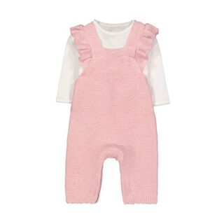 Mothercare NB Knitted Dungaree Conjunto, (Pink 130), 12-18 Months (Siz...