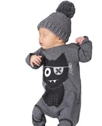Niño Recién Nacido Boy Jumpsuit Long Sleeve Baby Romper Ropa Gris