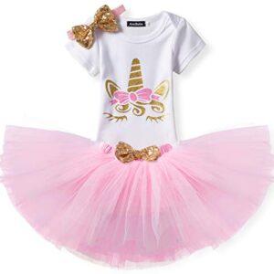 TTYAOVO Bebita 1er Cumpleaños Princesa Tutu Falda Ropa Conjunto de 3 P...