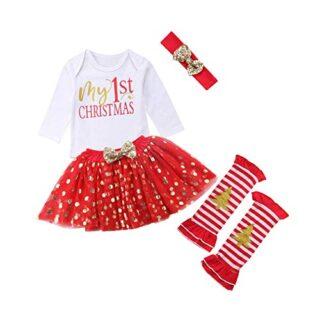 Traje Navidad para Bebé Niña 4 Piezas Conjunto de Recién Nacida Mamelu...