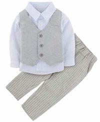 A&J Design 3 Piezas bebé Niño Formal Ropa Conjunto Boda Outfit (Gris, ...
