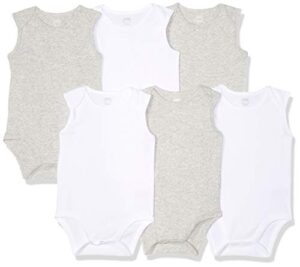 Amazon Essentials - Pack de 6 bodis sin mangas para bebé, Solid White ...