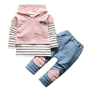 Conjunto Bebé, Recién Nacido Bebé niño niña Rayas Camiseta Tops + Pant...