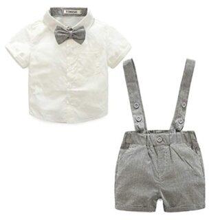 LEHOUR Bebés 2Pcs Trajes de Bautizo Camisa Bowtie Top + Tirantes Short...