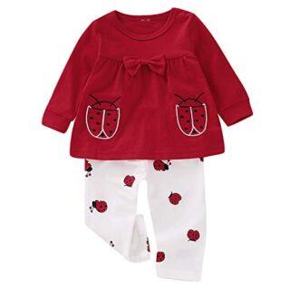 Puseky 2 Unids/Set Baby Girl Kids Toddler Ladybird Estampado de Manga ...