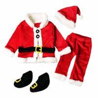 QUICKLYLY 4PCS Conjunto de Navidad para Bebé Niña Niño Santa Tops+Pant...