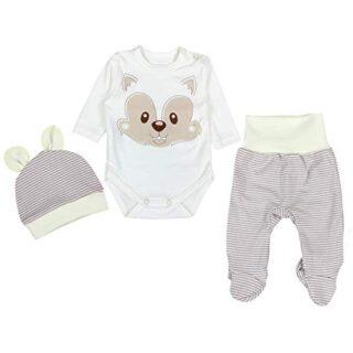 TupTam Conjunto de Ropa Bebés Body y Pantalones y Gorra, Zorro Beige, ...
