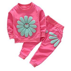 puseky Baby Girls Sunflower sudadera manga larga + pantalones conjunto...