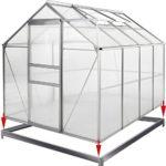 Deuba Invernadero de policarbonato Transparente con tragaluces y Base ...
