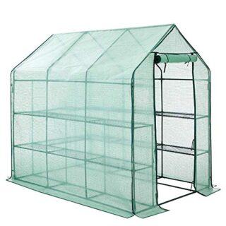 FOBUY - Invernadero Compacto de plástico PE con 8 estantes y Cubierta ...