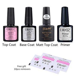 Elite99 Base Coat y Top Coat Semipermanentes, 2pcs Kit Esmaltes Semipe...