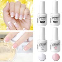 Elite99 Esmaltes Semipermanentes, Manicura Francesa en Gel UV LED 4pcs...