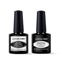 Lagunamoon Esmaltes de Uñas, Top Coat y Base Coat 2pcs Kit de Esmaltes...