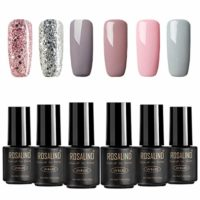 ROSALIND 6 * 7ml Sets de uñas 4* Color sólido + 2* Diamante brillante ...