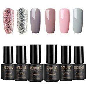 ROSALIND 6 * 7ml Sets de uñas 4* Color sólido + 2* Diamante brillante ...