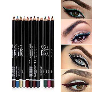 12 colores Pro Eyeliner Pen Set Lápiz delineador de ojos Impermeable E...