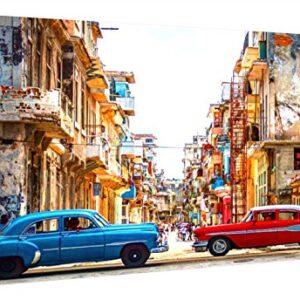 Ccretroiluminados Havana Sreet Cuba Cuadro con Luz, Metacrilato, Multi...