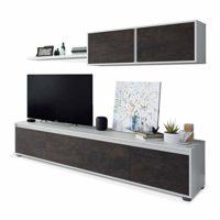 Habitdesign - Mueble de Comedor Moderno, Blanco Artik y Oxido