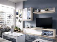 LIQUIDATODO ® - Salón con leds 215 cm moderna y barata en natural y bl...