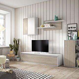 Muebles Place-Salón Comedor Moderno Tex/Mueble TV de 160 cm/Color Blan...
