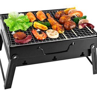 SunJas Barbacoa Portátil Barbacoa de Carbón con Pies Plegable Mini BBQ...