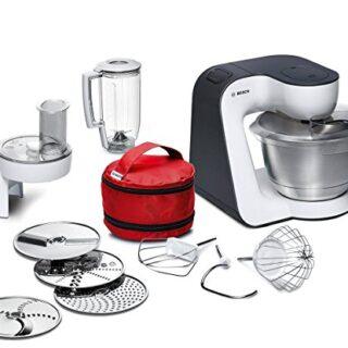 Bosch MUM52120 - Robot de cocina, negro y blanco, acero inoxidable, tr...