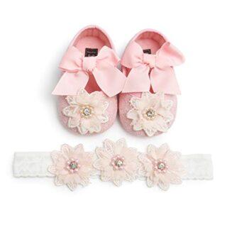 Zapatos de Niña con Diadema Regalo Set Bautizo Lovely Algodón Flor Sua...