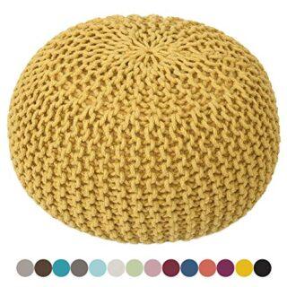 Taburete Knitting Pouf Pouffe Pouf óptica Grobstrick Ø 55 cm de Altura...