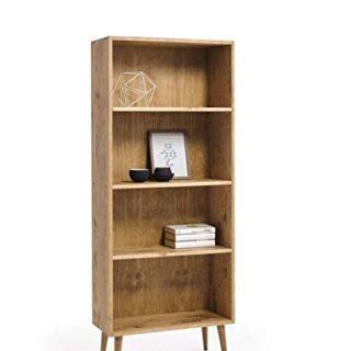 HOGAR24 ES- Estantería- librería de Madera Maciza Natural Acabado Ence...