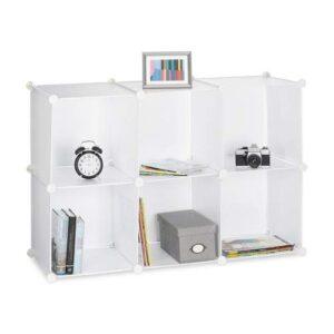 Relaxdays Estantería Modular Pequeña con 6 Compartimentos, Plástico, B...