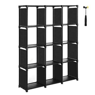 SONGMICS Cubos de Almacenamiento, Librería con 12 Compartimentos, Arma...