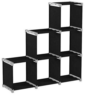 SONGMICS Librería de 6 Cubos, Estantería de Escalera de Tela, Armario ...