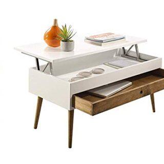 HOGAR24 ES Mesa de Centro elevable con cajón Deslizante diseño Vintage...