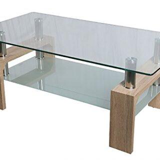HomeSouth - Mesa de Centro Fija, Cristal Templado Transparente, Patas ...