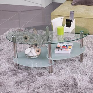 Homely - Mesa de Centro Ainara, con revistero y Tapa de Cristal Ovalad...