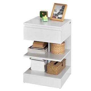 SoBuy® Mesita de Noche con 1 cajón y 2 estantes, Consola, Mesa Auxilia...
